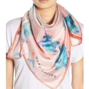 Floral Print Silk Brocade Scarf